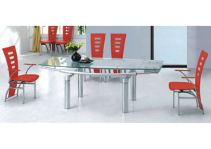 Rectangular Glass Top Dining Table w/ Stainless Steel Legs