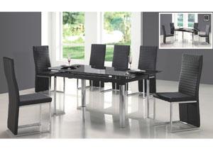 Black Rectangular Dining Table & 6 Black Chairs