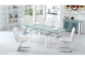 Rectangular Glass Top Dining Table w/ White Legs , 4 White Chairs, Buffet & Shelf