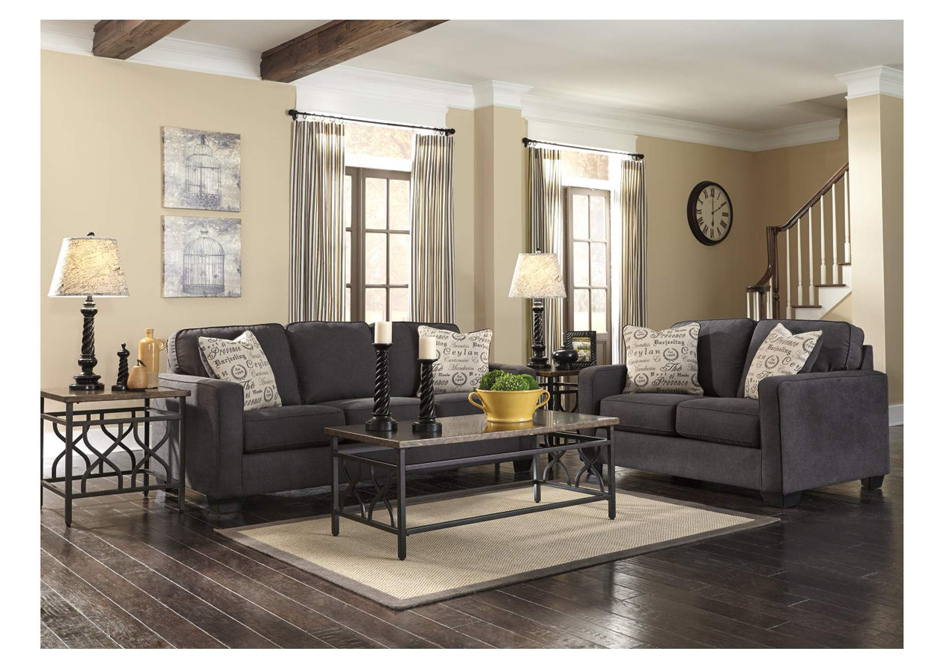 Harlem Furniture Alenya Charcoal Sofa Loveseat