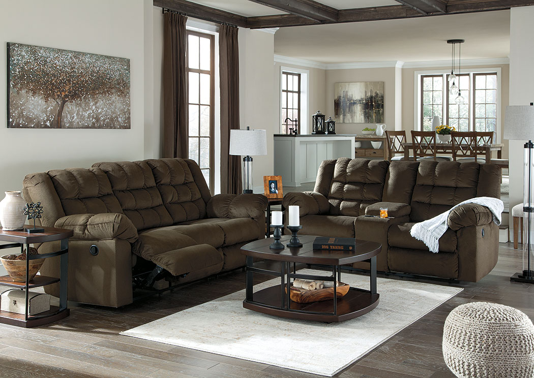 Furniture Palace Mort Umber Reclining Sofa and Loveseat w