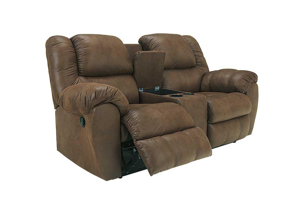 Florissant Furniture Quarterback Canyon Double Reclining Loveseat W Console