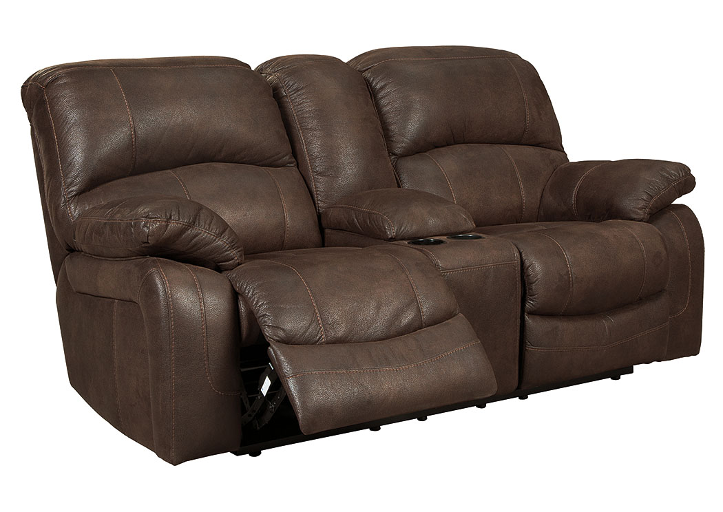 Zavier truffle glider recliner loveseat w console signature design by
