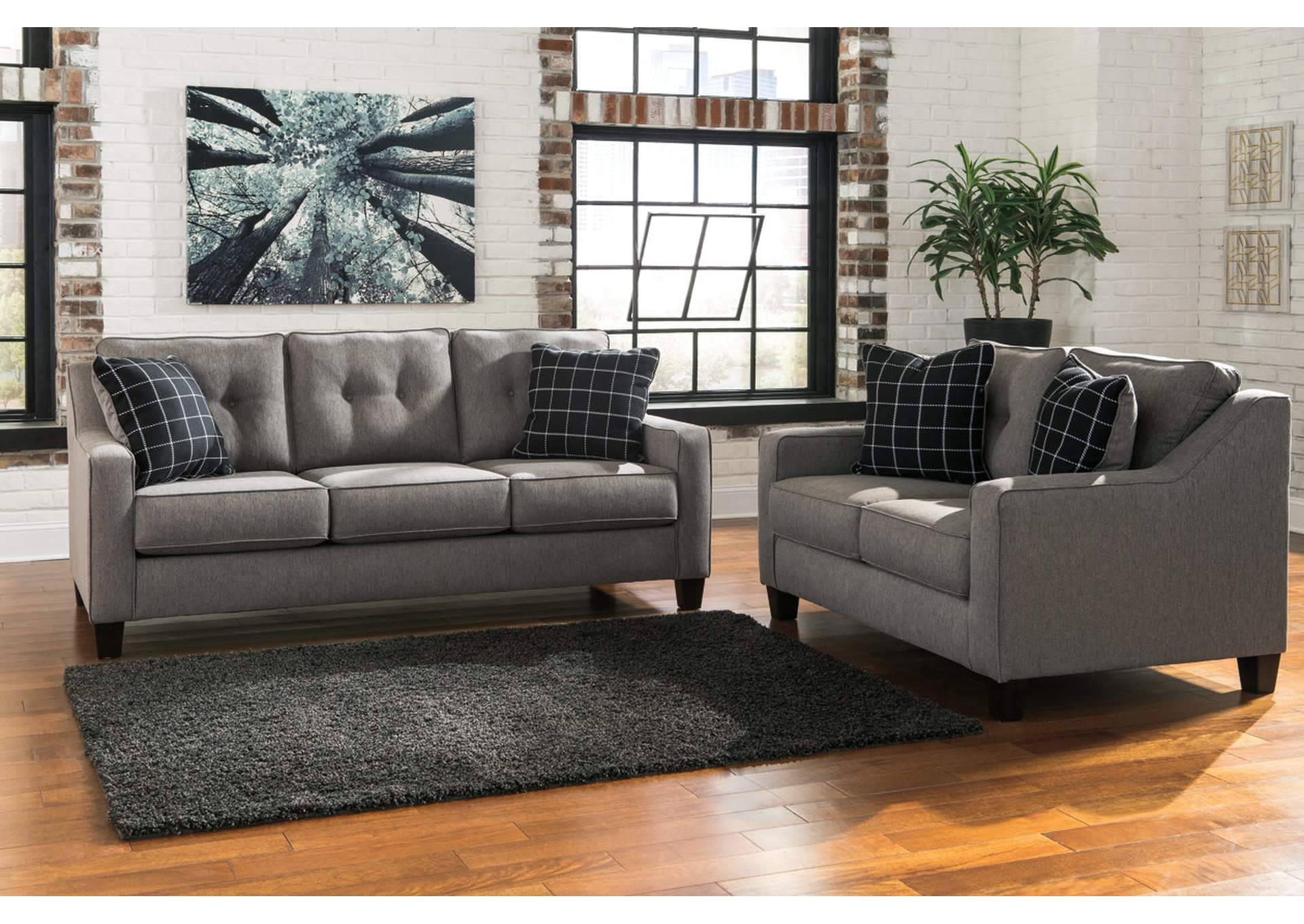 Furniture World Nw Brindon Charcoal Sofa And Loveseat
