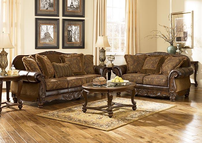 Gibson Mcdonald Furniture Fresco Durablend Antique Sofa Loveseat