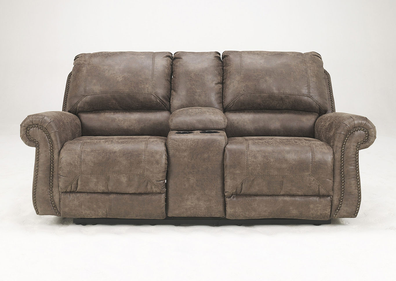 Best Buy Furniture And Mattress Oberson Gunsmoke Double Reclining Power Loveseat W Console