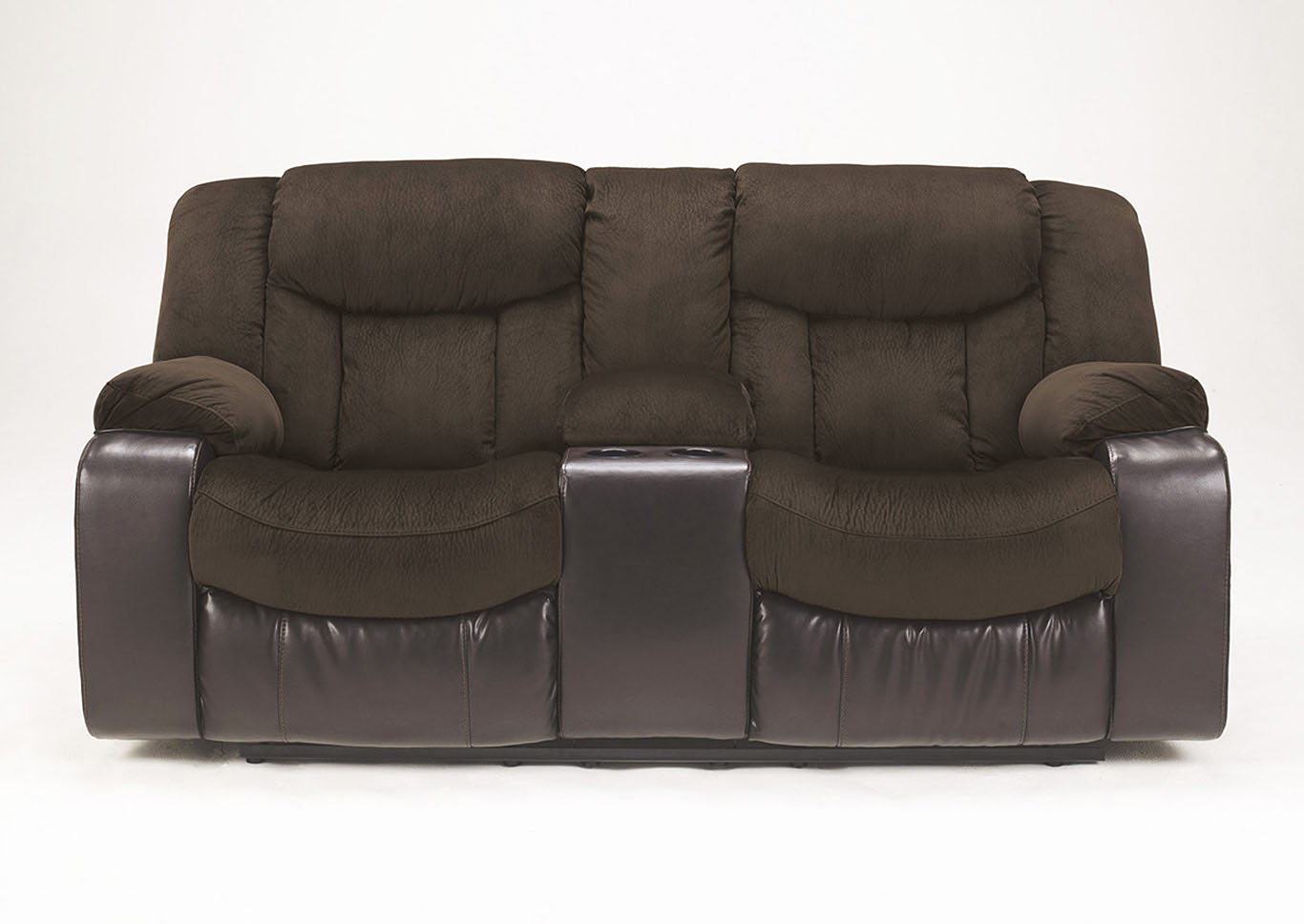 Harlem Furniture Tafton Java Double Reclining Loveseat W Console