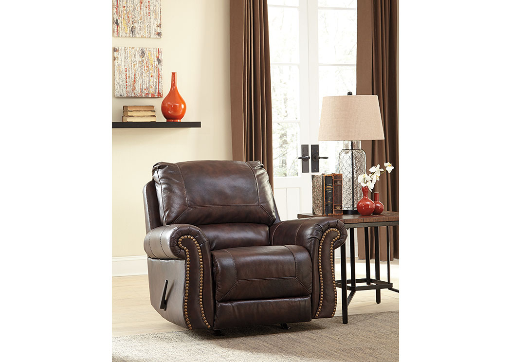 Alabama Furniture Market Bristan Walnut Rocker Recliner