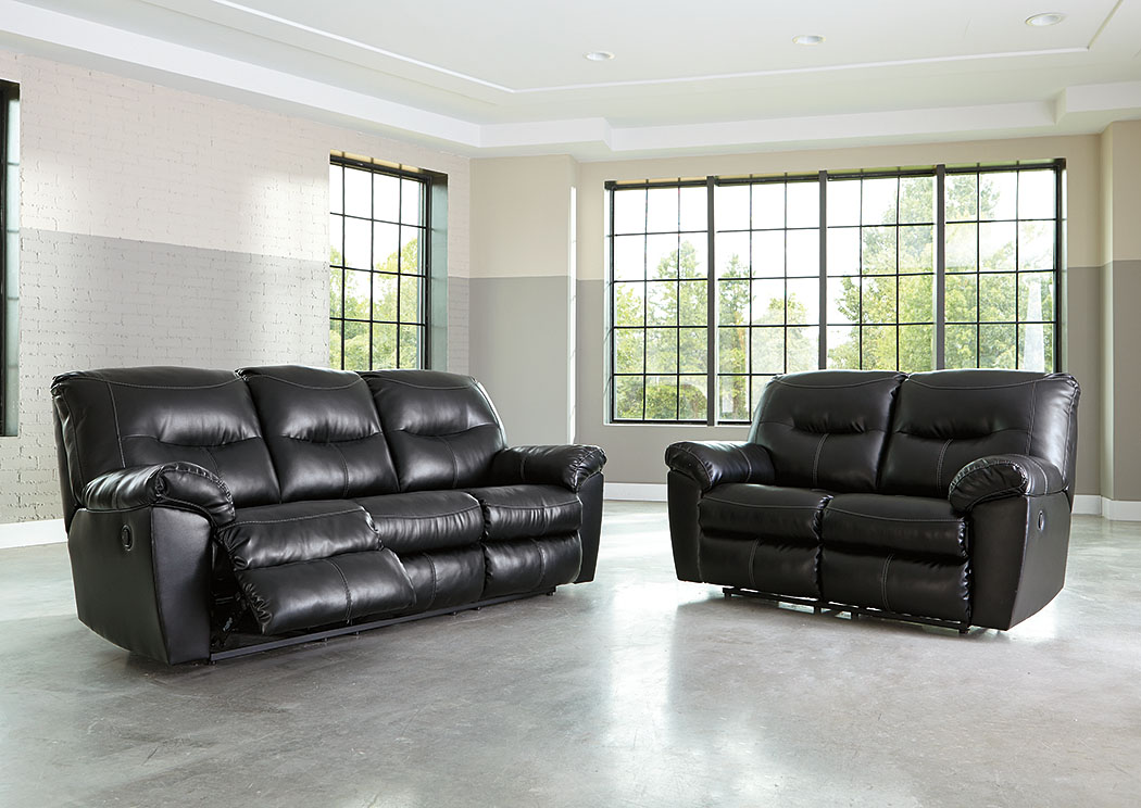 Furniture World Nw Kilzer Durablend Black Reclining Sofa And Loveseat