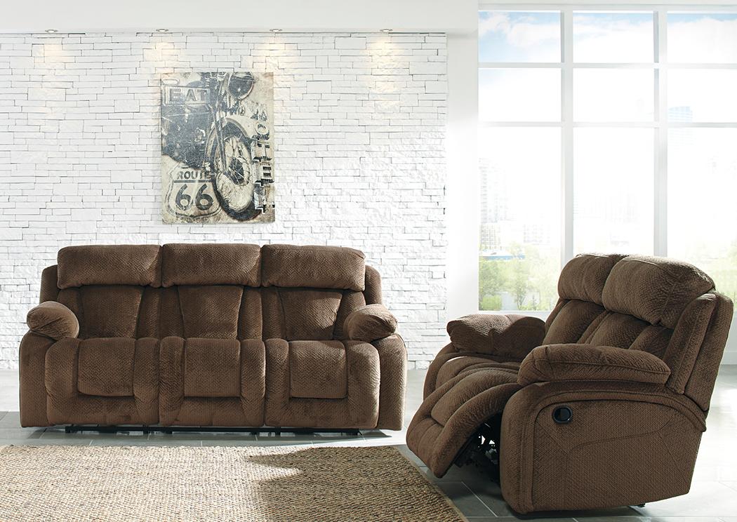 Furniture Palace Stricklin Chocolate Reclining Sofa and