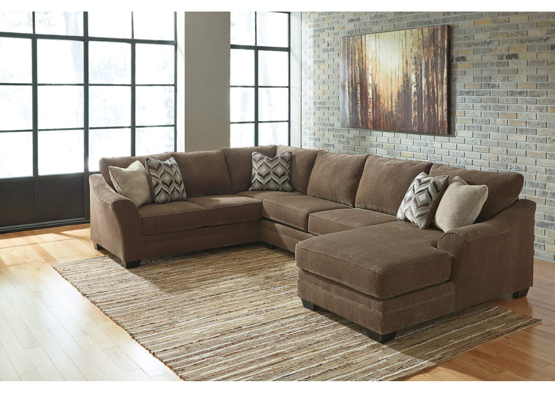 Major Discount Furniture Justyna Teak Sectional W Right Facing Corner Chaise