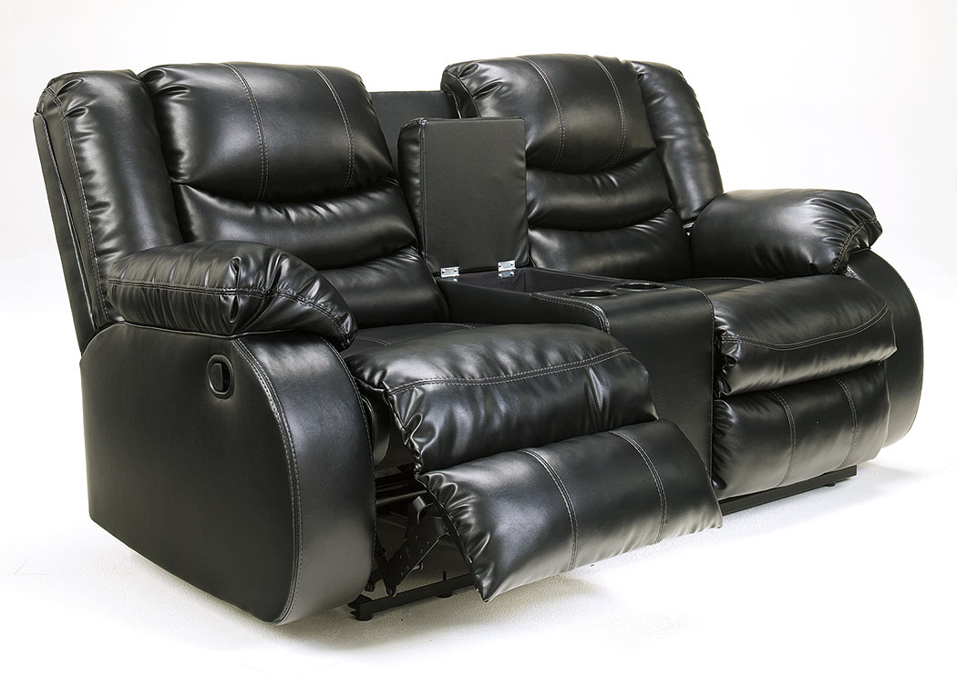 Ramos Furniture Linebacker Durablend Black Double Reclining Loveseat W Console