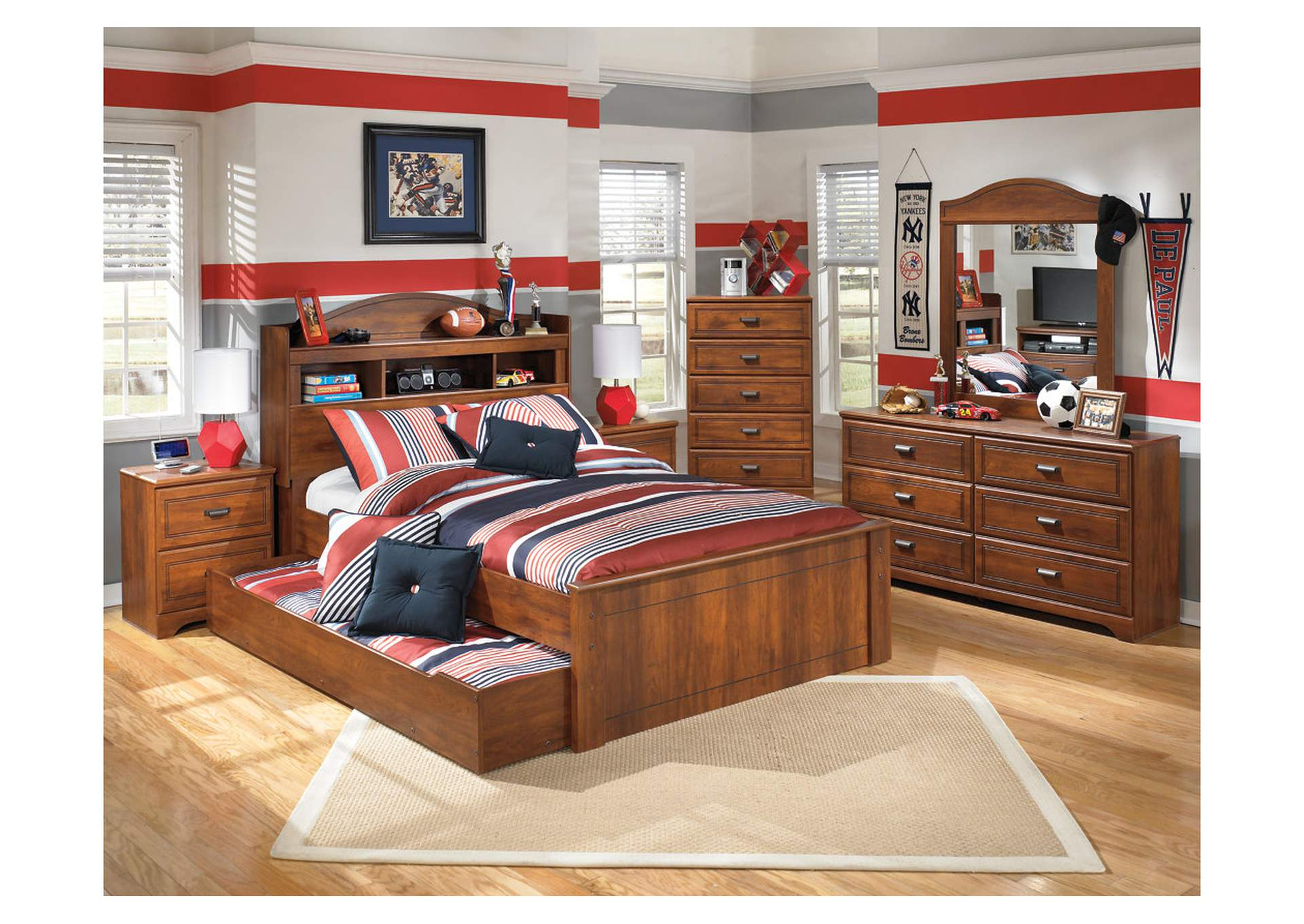 Majek Furniture Barchan Full Bookcase Bed W Trundle
