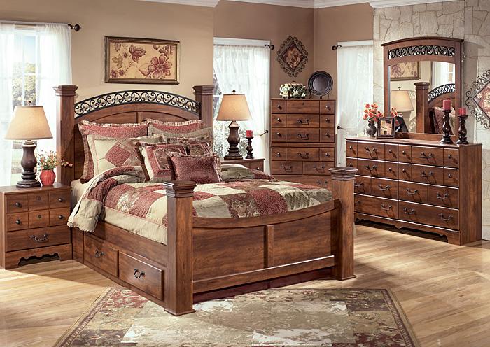 Alabama Furniture Market Timberline Queen Poster Bed W Storage Dresser Mirror