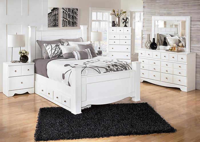 Jarons weeki queen poster storage bed dresser mirror for Mirror queen bed