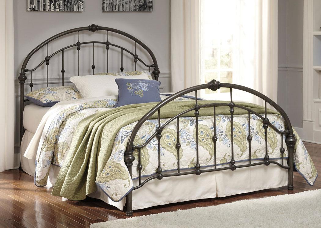 Furniture Exchange Bronze Finish Metal King Bed