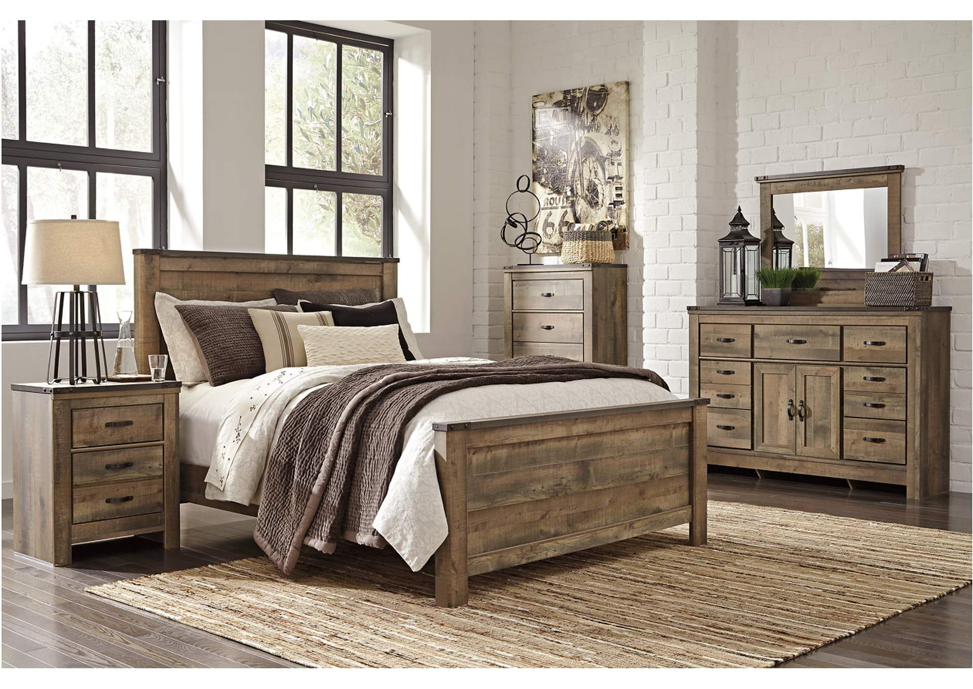 All Brands Furniture Edison Nj Trinell King Panel Bed W Dresser Mirror And Five Drawer Chest