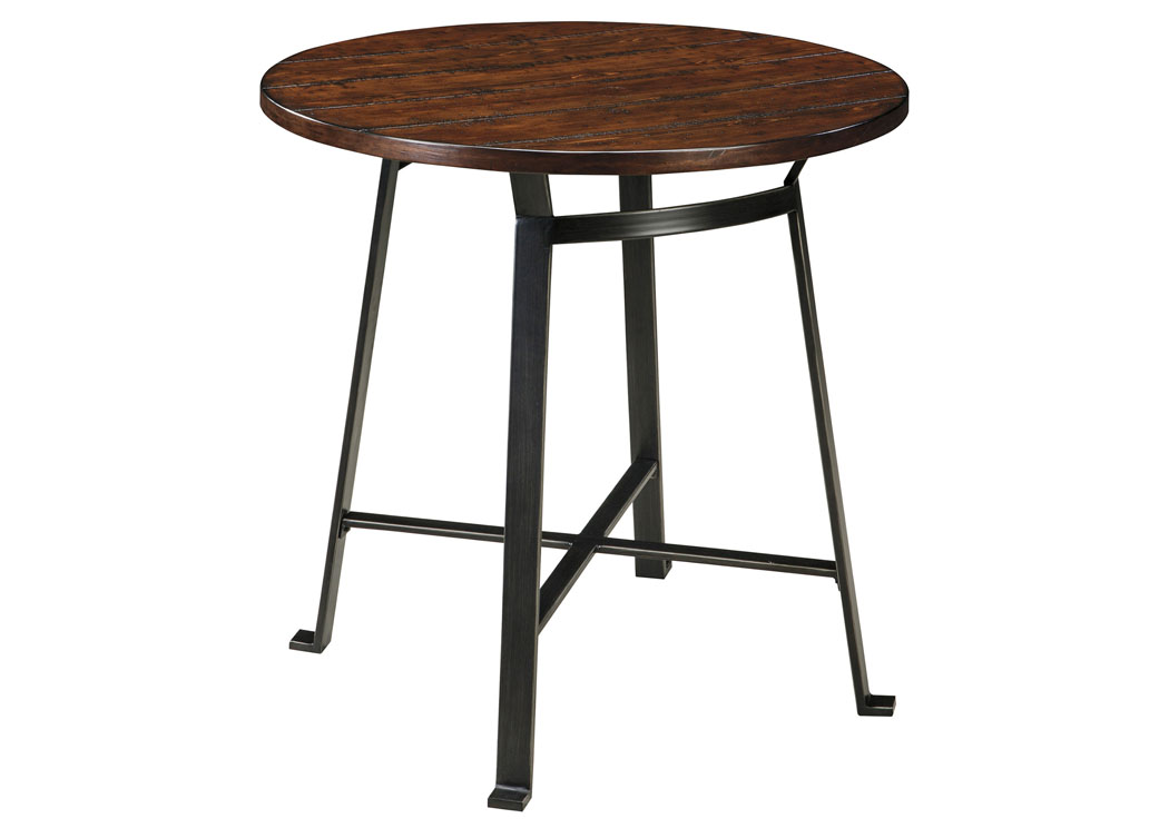 Challiman Rustic Brown Round Dining Room Bar Table Signature Design By