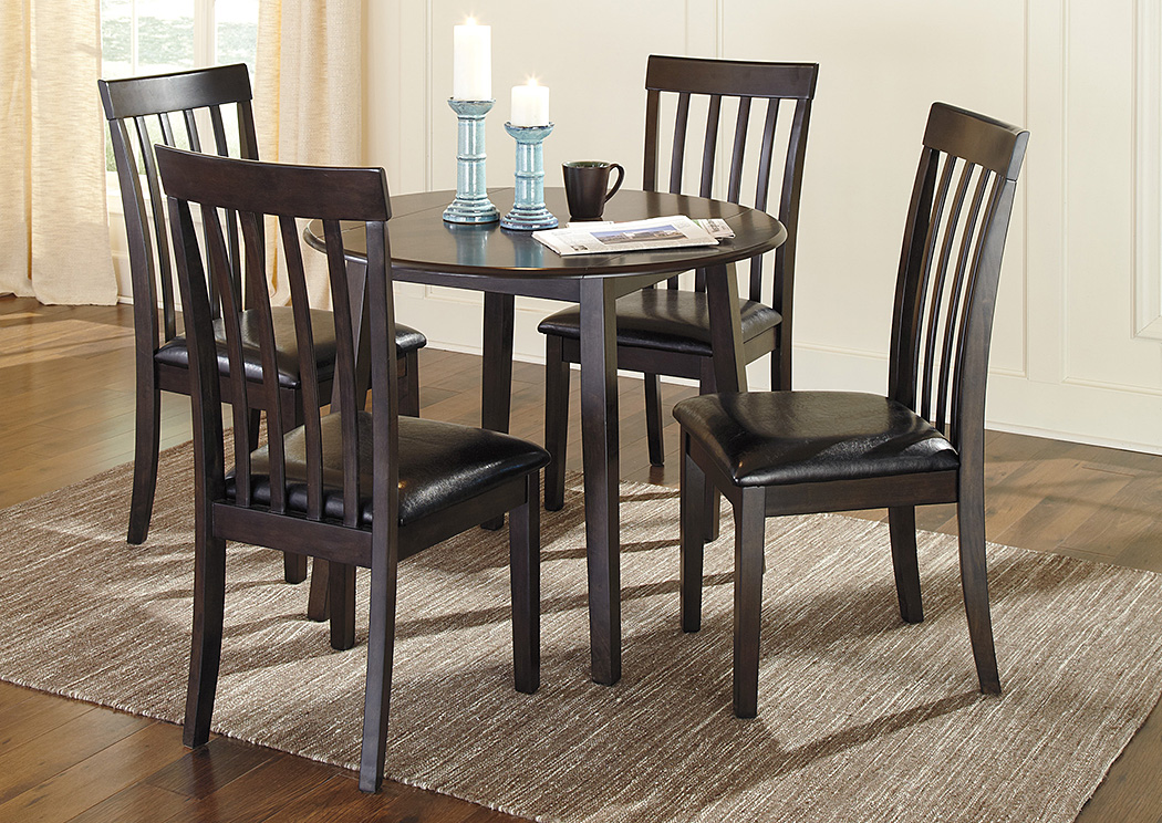Jarons hammis round drop leaf table w 4 side chairs for Round dining room table sets with leaf