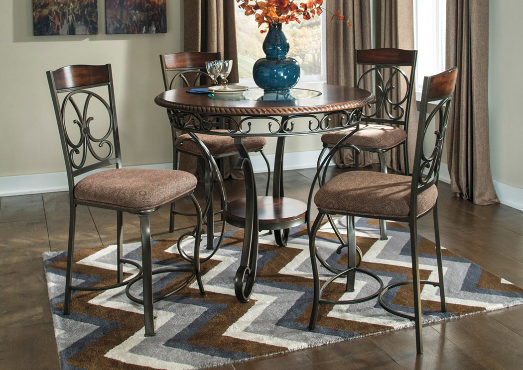 KampR Furniture Glambrey Round Counter Height Table W 4 Barstools