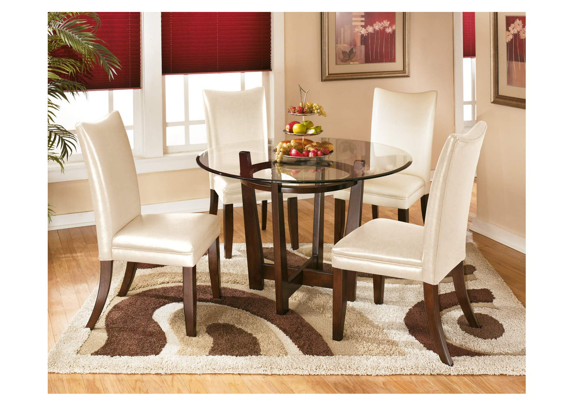 Vip Furniture Outlet Upper Darby Pa Charell Round Dining Table W 4 Ivory Side Chairs