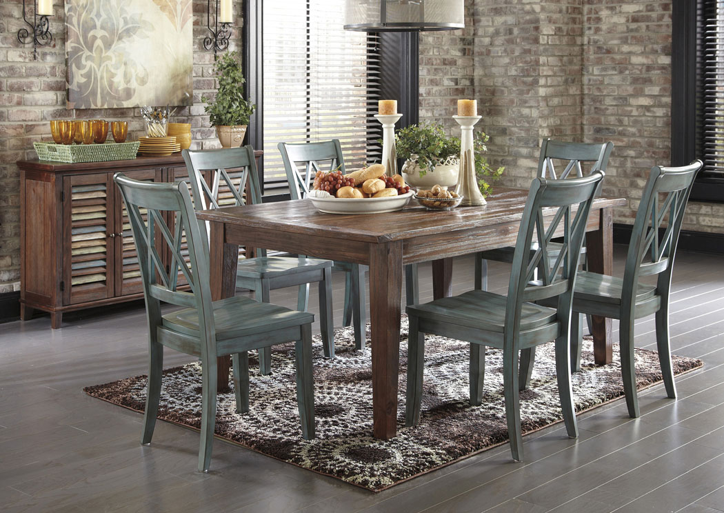 Mestler Dark Brown Rectangular Dining Table W 6 Antique Blue Side ChairsSignature Design