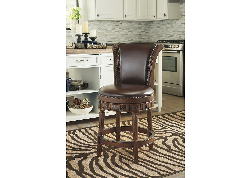 Florissant Furniture North Shore Dark Brown Upholstered Swivel Barstool