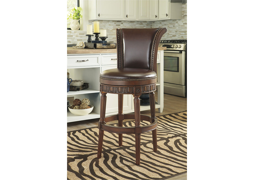 Martinez Furniture Appliance Mcallen Tx North Shore Dark Brown Tall Upholstered Swivel Barstool