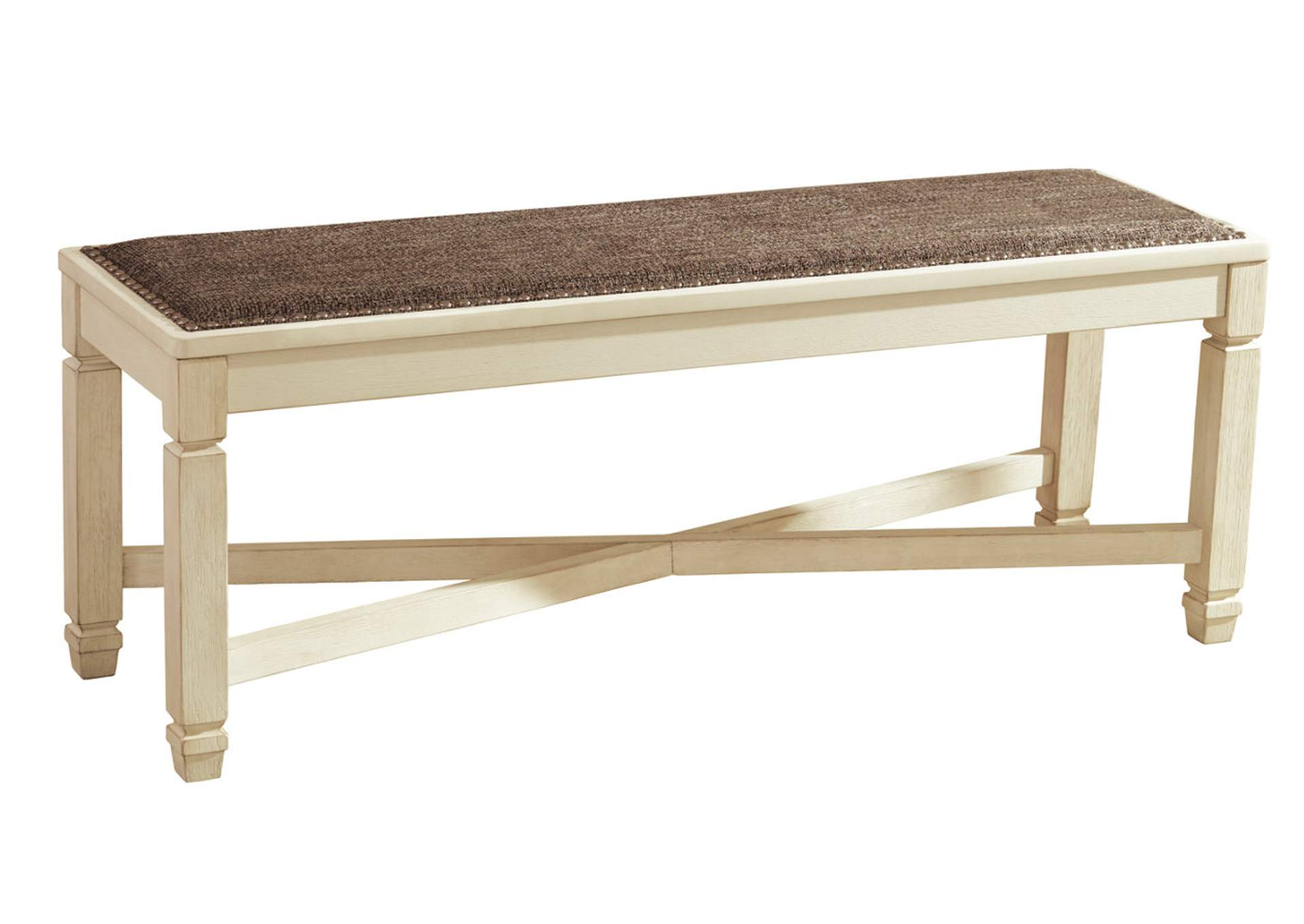 bolanburg antique white large upholstered dining room bench signature