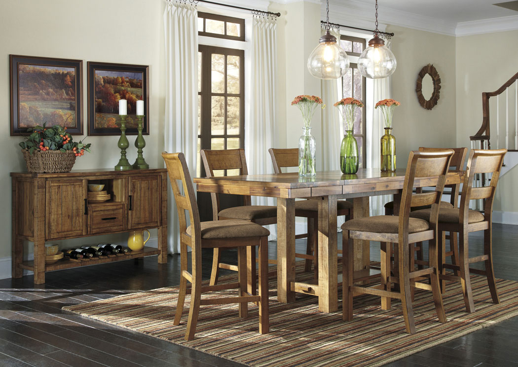 National Furniture Outlet Westwego La Krinden Counter Height Extension Table W 6 Upholstered