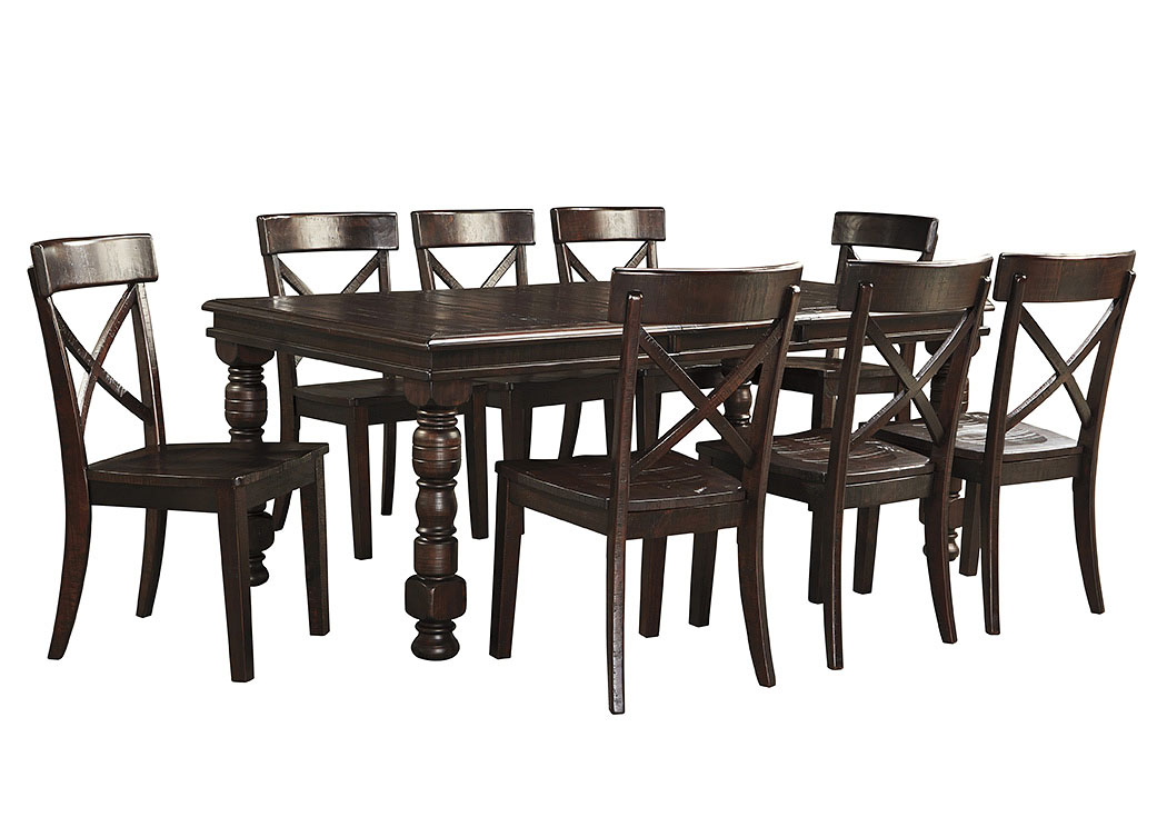 Furniture palace gerlane dark brown rectangular dining for Dining room extension tables