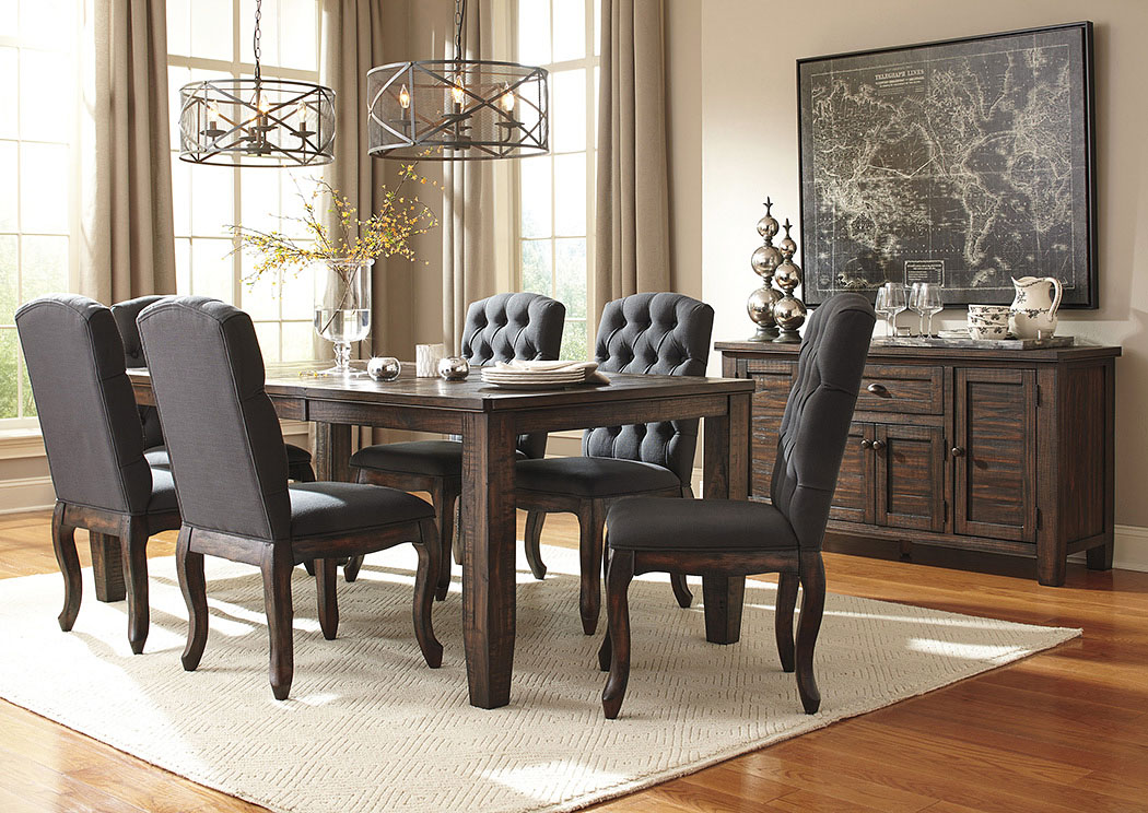 dining room extension table w server and 6 upholstered side chairs