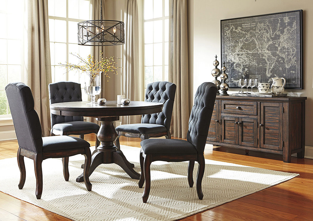 design by ashley dining room trudell golden brown round dining