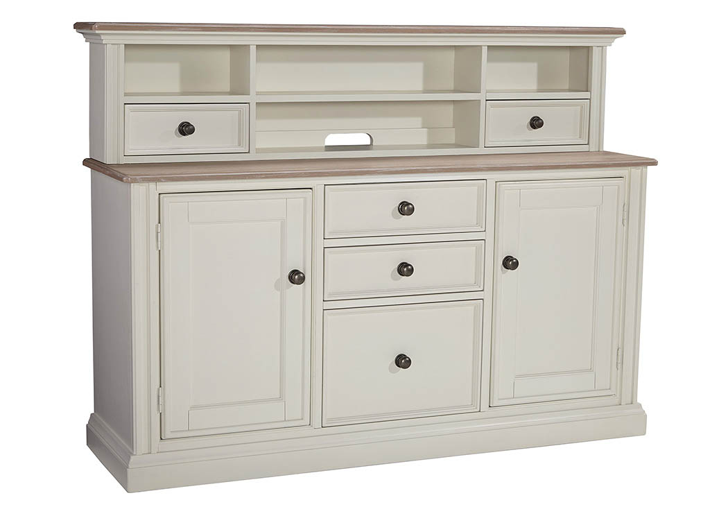 North Shore Furniture Sarvanny Two Tone Large Credenza Home Office Short Desk Hutch