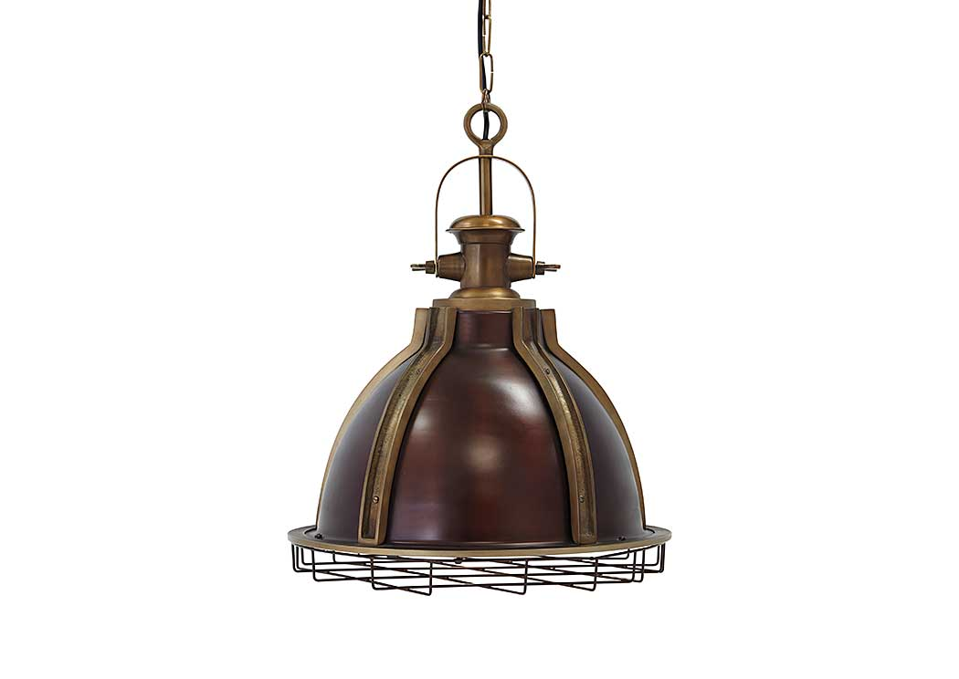 fanchon antique brass finish metal pendant lightsignature design by ashley brass and metal furniture