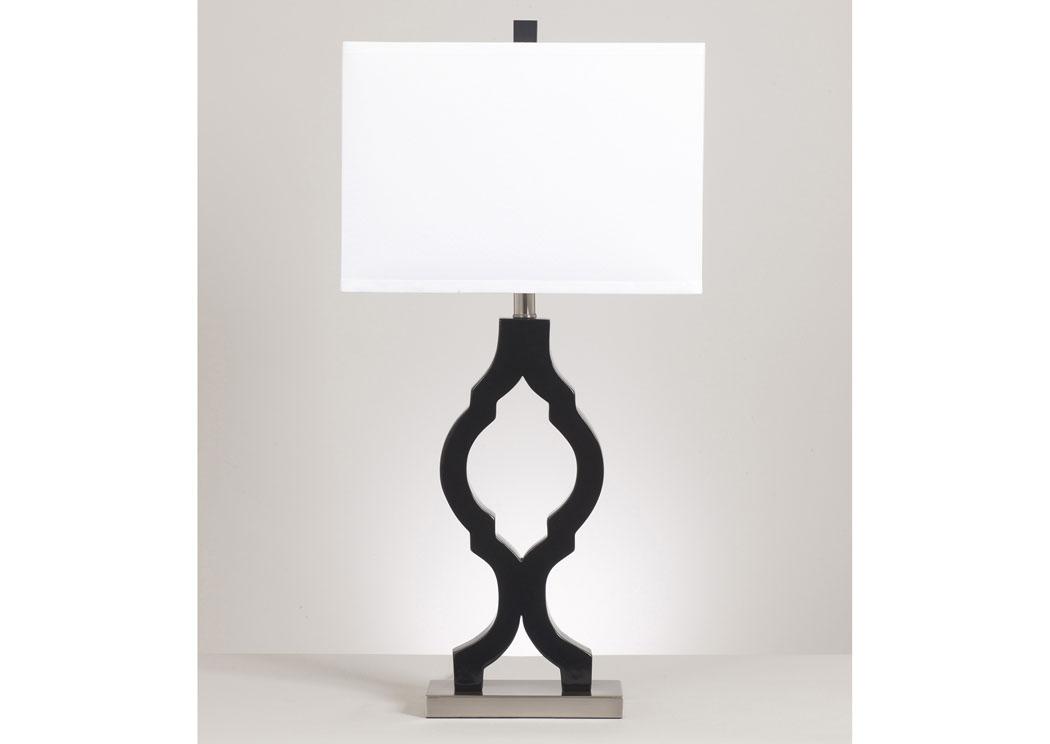 Barbara Jeans Furniture Rosetta Black Silver Poly Table