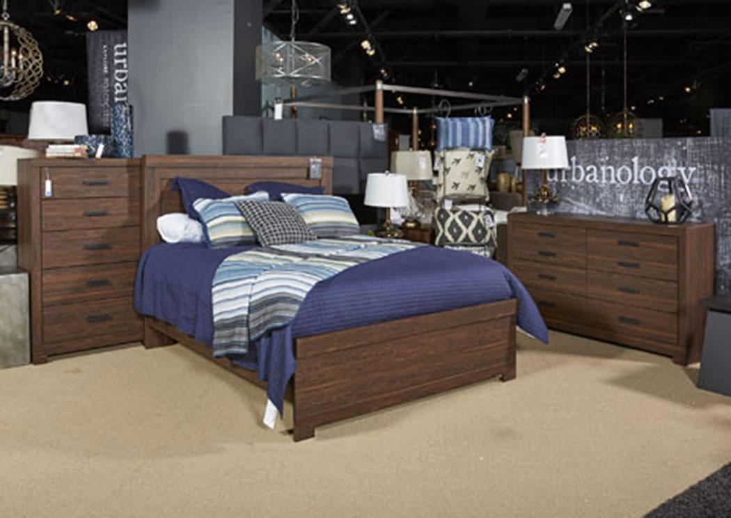 Furniture Palace Arkaline Brown King Panel Bed