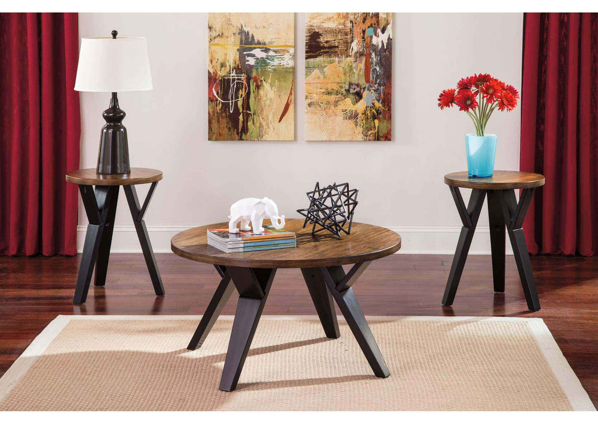 Furniture Exchange Ingel Two Tone Brown Occasional Table Set Cocktail 2 Ends
