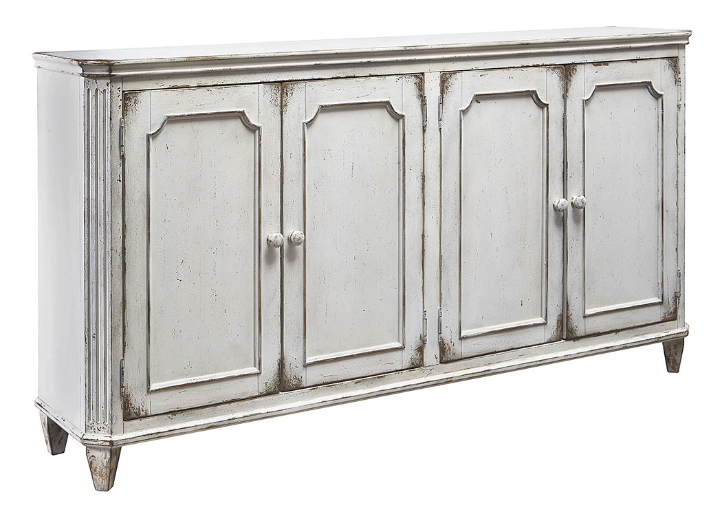 Alabama Furniture Market Mirimyn Antique White 4 Door Accent Cabinet