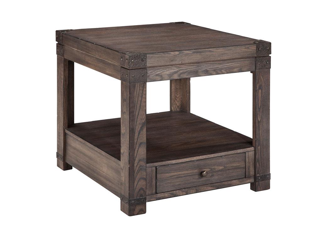 Orleans Furniture Burladen Grayish Brown Rectangular End Table