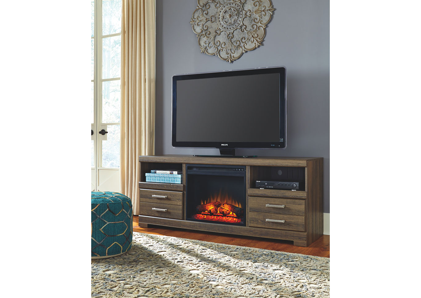 Jarons Frantin TV Stand w LED Fireplace Insert