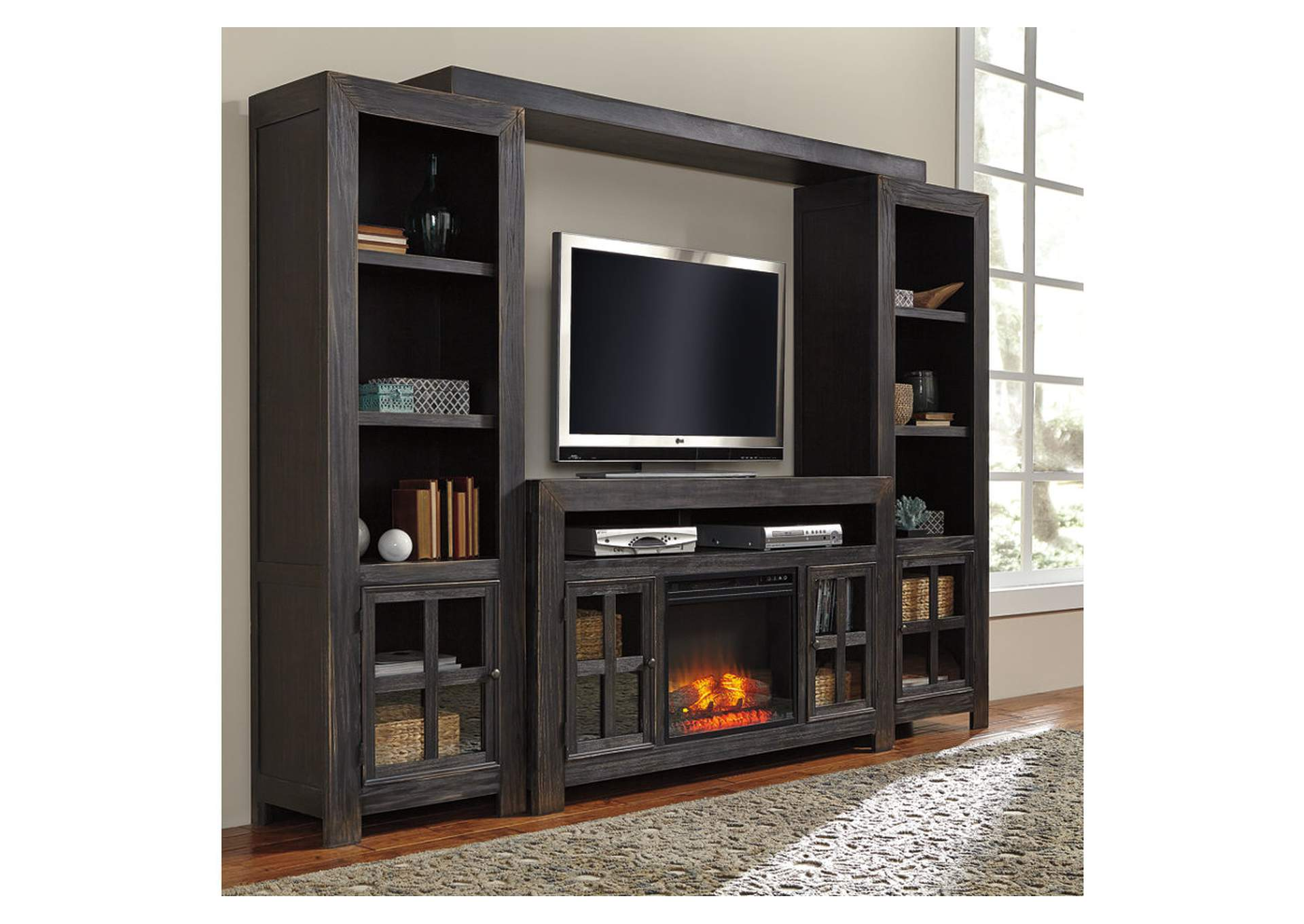 Apex Furniture Gavelston Black Entertainment Center W Led Fireplace Insert