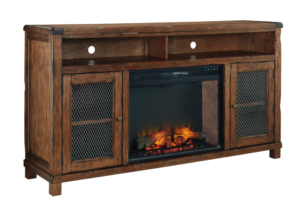 Price Point Furniture Tamonie Rustic Brown Xl Tv Stand With Led Fireplace