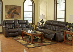 Carnell Walnut Reclining Sofa & Loveseat