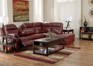 Primematic DuraBlend Crimson Left Facing Power Reclining Sectional