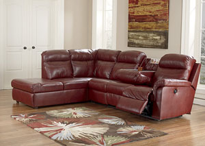 Primematic DuraBlend Crimson Right Facing Power Reclining Sectional