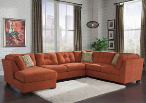 Delta City Rust Left Arm Facing Corner Chaise Sectional,Benchcraft