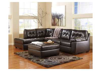 Alliston DuraBlend Chocolate Right Arm Facing Chaise End Sectional & Oversized Accent Ottoman