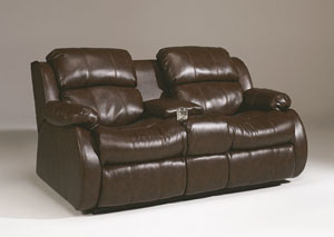 DuraBlend Cafe Double Reclining Loveseat w/ Console