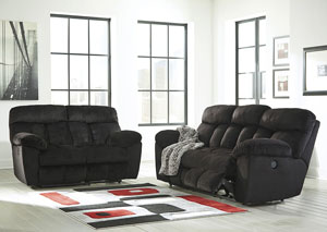 Saul Black Reclining Sofa and Loveseat